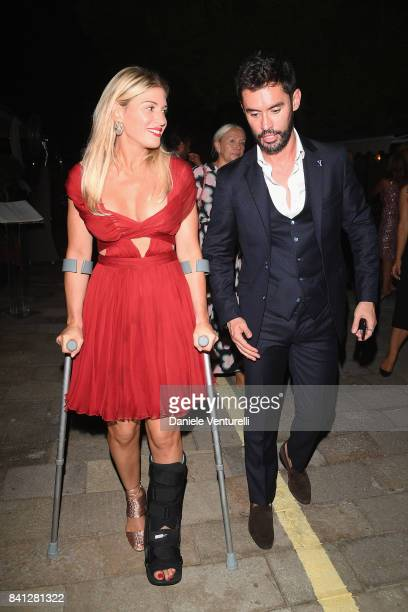 Hofit Golan and JeanBernard FernandezVersini leaving the Vanity Fair 'So Wonderful' Party during the 74th Venice Film Festival at Cipriani Hotel on...
