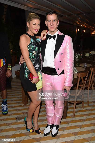 Hofit Golan and Jeremy Scott attend Jeremy Scott Moschino Party with Barbie on December 4 2014 in Miami Beach Florida