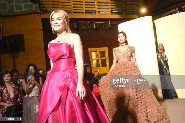 Hofit Golan and models walk the runway during the Christophe Guillarme show as part of the Paris Fashion Week Womenswear Fall/Winter 2020/2021 on...