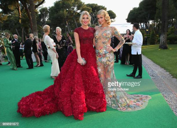 Hofit Golan and Paris Hilton attend the cocktail at the amfAR Gala Cannes 2018 at Hotel du CapEdenRoc on May 17 2018 in Cap d'Antibes France