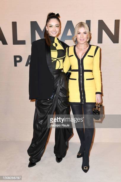 Hofit Golan and Patricia Contreras attend the Balmain show as part of the Paris Fashion Week Womenswear Fall/Winter 2020/2021 on February 28 2020 in...