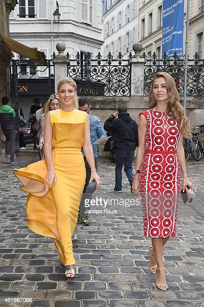 Hofit Golan and Victoria Bonya arrive at Zuhair Murad show as part of Paris Fashion Week Haute Couture Fall/Winter 20142015 on July 10 2014 in Paris...