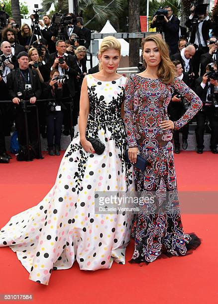 Hofit Golan and Victoria Bonya attend the 'Money Monster' premiere during the 69th annual Cannes Film Festival at the Palais des Festivals on May 12...