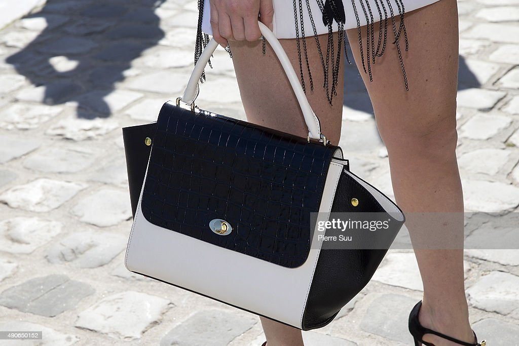 Hofit Golan, handbag detail, arrives at the Guy Laroche show as part of the Paris Fashion Week Womenswear Spring/Summer 2016 on September 30, 2015 in Paris, France.