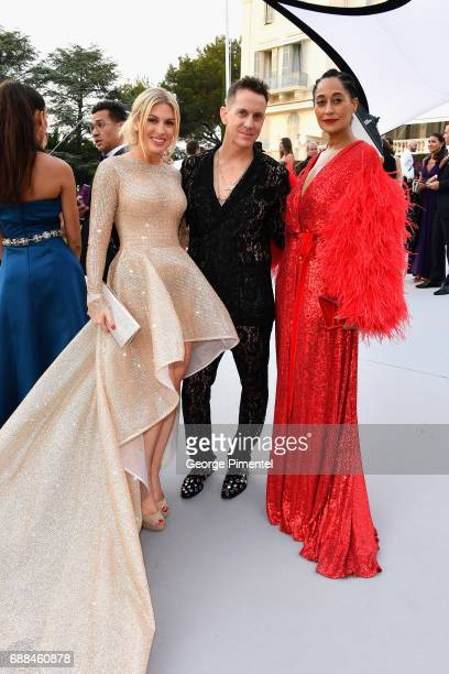 Hofit Golan Jeremy Scott and Tracee Ellis Ross attend the amfAR Gala Cannes 2017 at Hotel du CapEdenRoc on May 25 2017 in Cap d'Antibes France