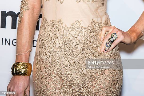Hofit Golan jewelry detail attends the 2015 amfAR New York Gala at Cipriani Wall Street on February 11 2015 in New York City