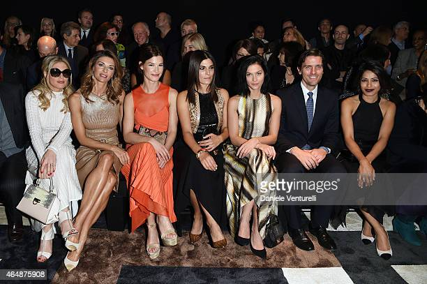 Hofit Golan Martina Colombari Hanneli Mustaparta Valeria Solarino Leigh Lezark James Ferragamo and Freida Pinto attend the Salvatore Ferragamo show...