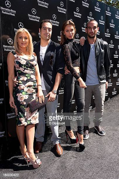 Hofit Golan Mohammed Al Turki and Liliana Matthaus attend MercedesBenz Fashion Week Spring 2014 at Lincoln Center for the Performing Arts on...