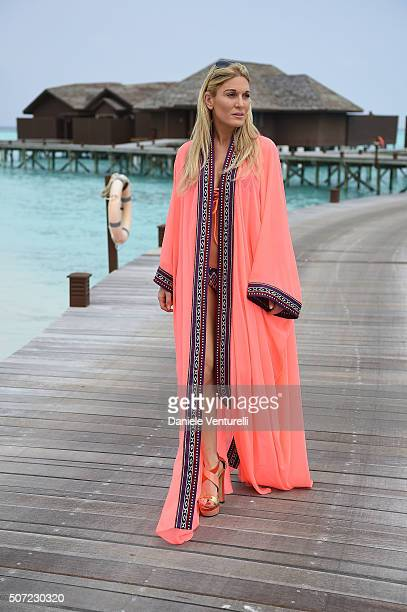 Hofit Golan poses during the vacation at Hideaway Beach Resort Spa on January 28 2016 in Male Maldives