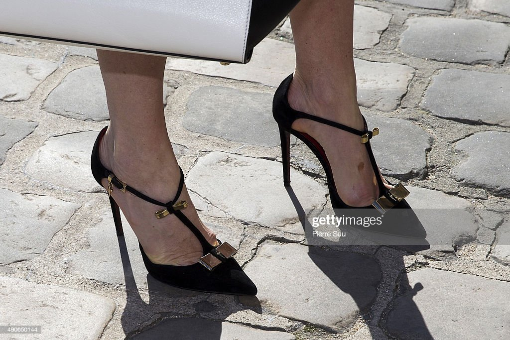 Hofit Golan, shoe detail, arrives at the Guy Laroche show as part of the Paris Fashion Week Womenswear Spring/Summer 2016 on September 30, 2015 in Paris, France.