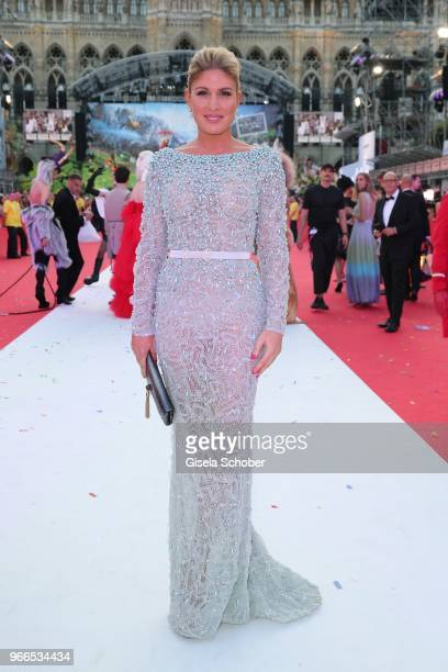 Hofit Golan wearing a dress by Joao Rolo Couture during the Life Ball 2018 at City Hall on June 2 2018 in Vienna Austria The Life Ball an annual...