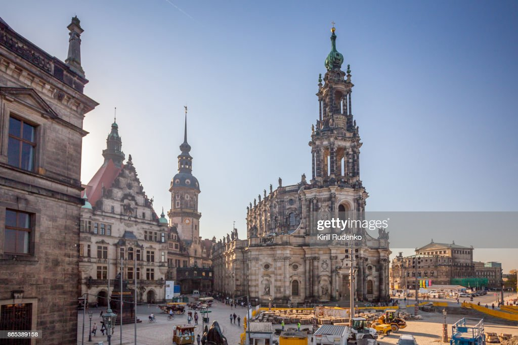 Hofkirche (Dresden Cathedral) and Hausmann Tower, Dresden, Saxony, Germany : Stock Photo