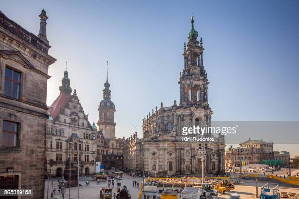 hofkirche (dresden cathedral) and hausmann tower, dresden, saxony, germany - saxony stock pictures, royalty-free photos & images