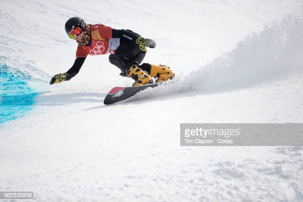 Hofmeister of Germany in action during the Ladies' Snowboard Parallel Giant Slalom competition at Phoenix Snow Park on February 24 2018 in...