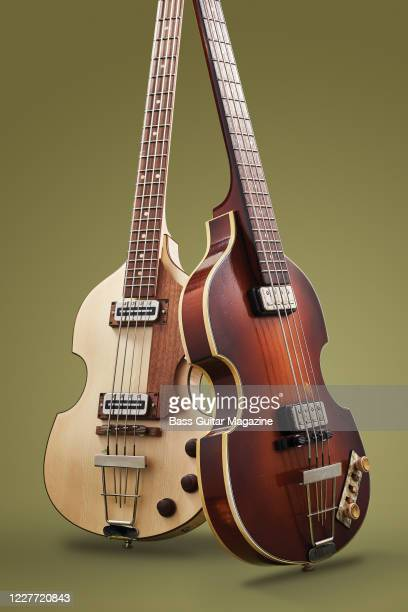 A Hofner H500/1HGL0 Greenline bass guitar and a Hofner 500/163RLC Relic bass guitar taken on October 22 2018