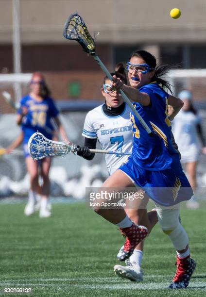 Hofstra Alexa Mattera chases after the ball during a women's college Lacrosse game between the Johns Hopkins Blue Jays and the Hofstra Pride on March...