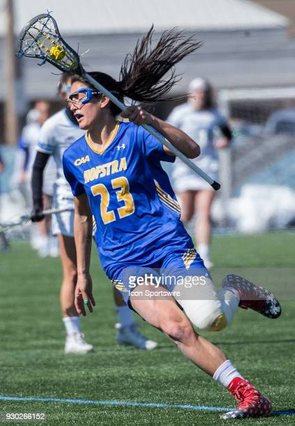 Hofstra Alexa Mattera on the attack during a women's college Lacrosse game between the Johns Hopkins Blue Jays and the Hofstra Pride on March 10 at...