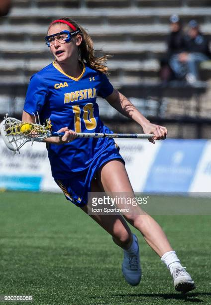 Hofstra Amanda Seekamp on the attack during a women's college Lacrosse game between the Johns Hopkins Blue Jays and the Hofstra Pride on March 10 at...