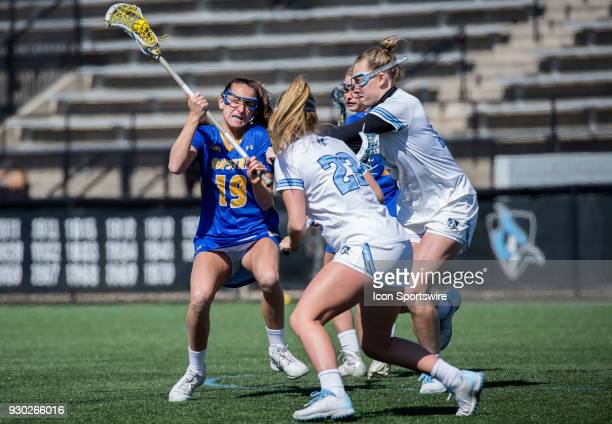Hofstra Arianna Esposito moves up on the Hopkins defense during a women's college Lacrosse game between the Johns Hopkins Blue Jays and the Hofstra...