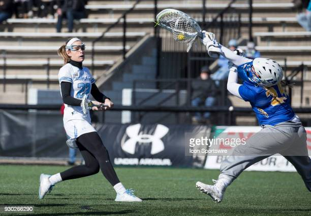 Hofstra Maddie Fields makes a save during a women's college Lacrosse game between the Johns Hopkins Blue Jays and the Hofstra Pride on March 10 at...