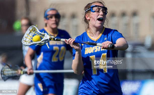 Hofstra Megan Motkowski winds up for a shot during a women's college Lacrosse game between the Johns Hopkins Blue Jays and the Hofstra Pride on March...