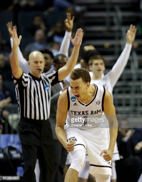 Hogg of the Texas AM Aggies reacts after a three point shot against the Texas AM Aggies during the first round of the 2018 NCAA Men's Basketball...