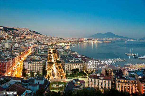 hogh angle view of naples at sunset from sant'antonio a posillipo - naples italy stock pictures, royalty-free photos & images