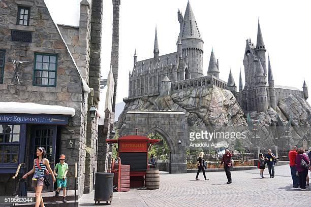 Hogwarts is seen in 'Wizarding World of Harry Potter' theme park at Universal Studios Hollywood in Los Angeles USA on April 6 2016