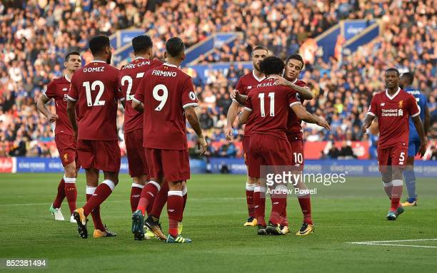 Hohamed Salah of Liverpool Scores the opener and celebrates during the Premier League match between Leicester City and Liverpool at The King Power...