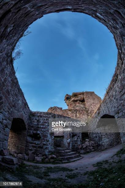 hohenbourg castle ruin - dämmerung stock pictures, royalty-free photos & images