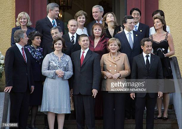 Hohen-Luckow, GERMANY: Leaders of Europe and the G8 countries pose for a family picture ahead of a dinner on the first official day of the G8 summit...