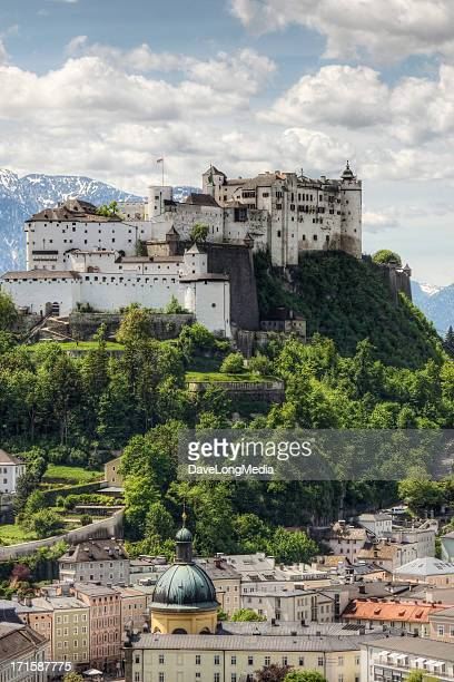 hohensalzburg fortress in austria - salzburg stock pictures, royalty-free photos & images