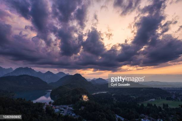 hohenschwangau palace at twilight - dämmerung stock pictures, royalty-free photos & images