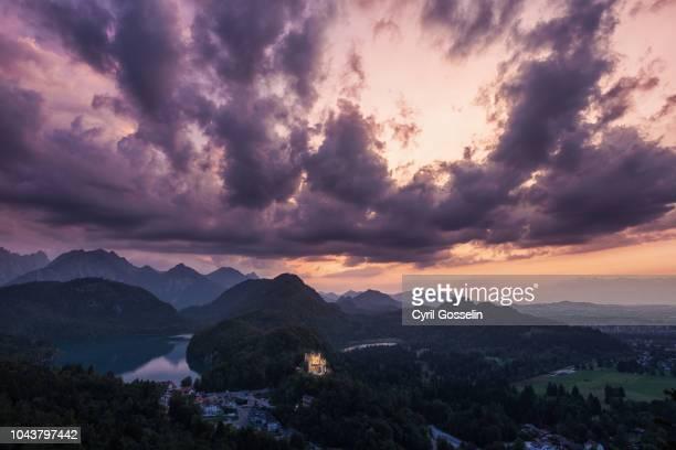 hohenschwangau palace at twilight - neu stock pictures, royalty-free photos & images