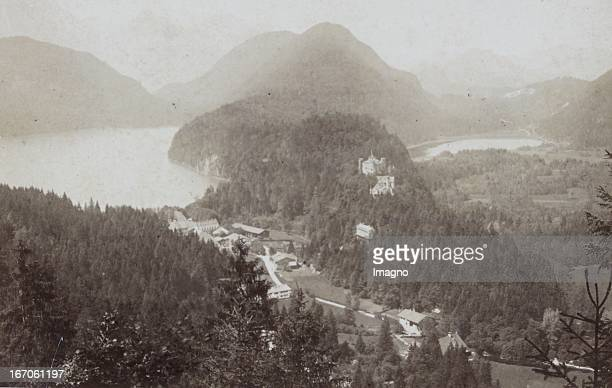 view of Schwansee and the Old Castle and the Alpsee 1882 Photograph by Ludwig Schradler / Füssen Photograph Hohenschwangau Ansicht mit Schwansee und...