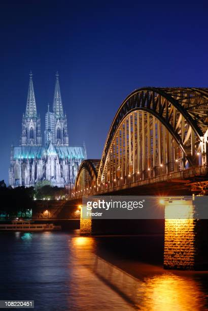 Hohenzollern Bridge and Cathedral at Night