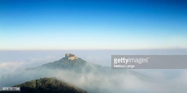 Hohenzollern Castle in early morning fog, Hechingen, Swabian Alb, Baden Wurttemberg, Germany, Europe
