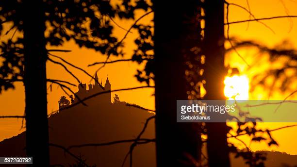 Hohenzollern castle silhouette at sunset, seen through forest-foreground.