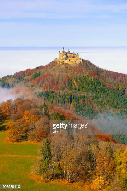 Hohenzollern Castle with Early Mist, Swabian Alb, Baden-Wuerttemberg, Germany