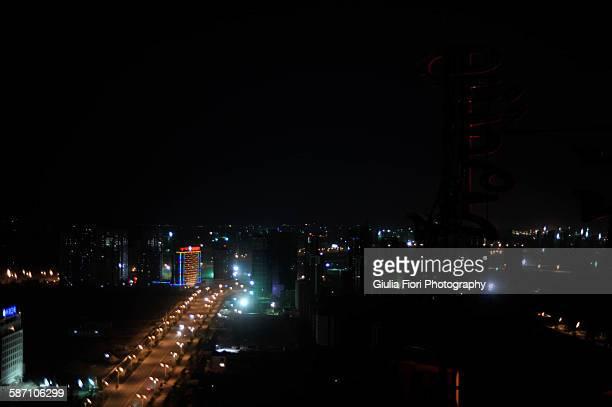 hohhot at night, inner mongolia - hohhot fotografías e imágenes de stock