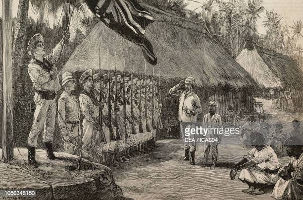 Hoisting the flag on Abemama British annexation of the Gilbert Islands Kiribati engraving from The Illustrated London News No 2786 September 10 1892