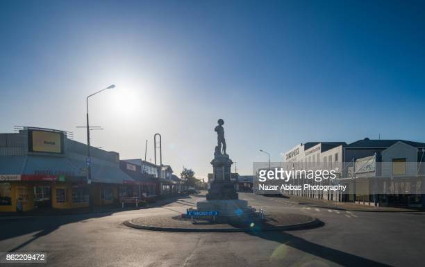 hokitika's pioneer statue, on the corner of weld and tancred streets, hokitika, westland, new zealand. - nazar stock photos and pictures