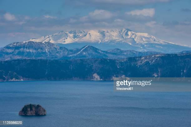 hokkaido, akan mashu national park, caldera of lake mashu - caldera stock pictures, royalty-free photos & images