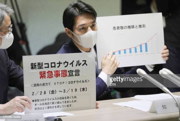 Hokkaido Governor Naomichi Suzuki declares a state of emergency during a meeting on the new COVID-19 coronavirus in Hokkaido prefecture on February...