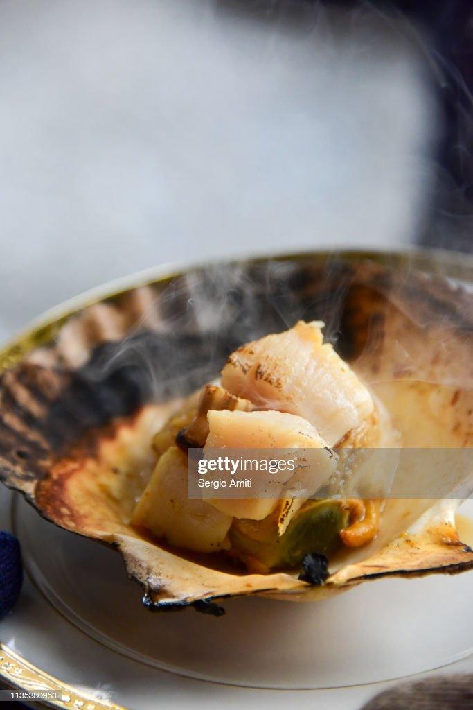 Hokkaido grilled scallop : Stock Photo