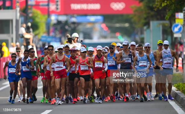 Hokkaido , Japan - 5 August 2021; A general view of the men's 20 kilometre walk final at Sapporo Odori Park on day 13 during the 2020 Tokyo Summer...