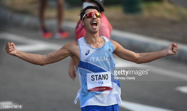Hokkaido , Japan - 5 August 2021; Massimo Stano of Italy celebrates winning the men's 20 kilometre walk final at Sapporo Odori Park on day 13 during...