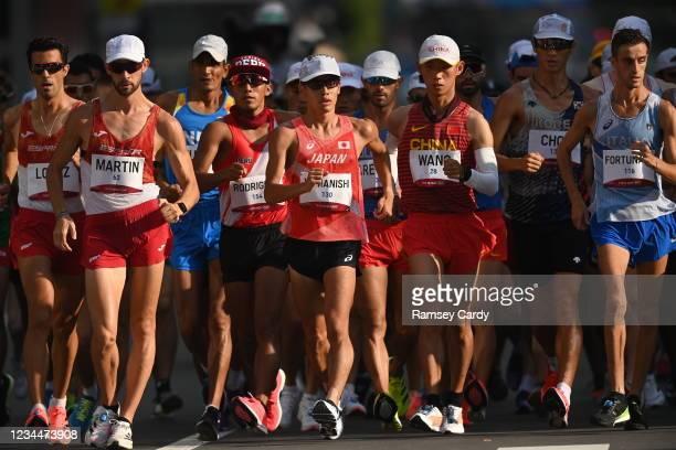 Hokkaido , Japan - 5 August 2021; Toshikazu Yamanishi of Japan, centre, leads the men's 20 kilometre walk final at Sapporo Odori Park on day 13...