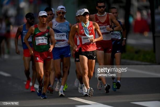 Hokkaido , Japan - 5 August 2021; Toshikazu Yamanishi of Japan leads the men's 20 kilometre walk final at Sapporo Odori Park on day 13 during the...