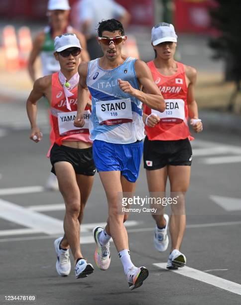 Hokkaido , Japan - 5 August 2021; Toshikazu Yamanishi of Japan, left, Massimo Stano of Italy, centre, and Koki Ikeda of Japan lead the men's 20...